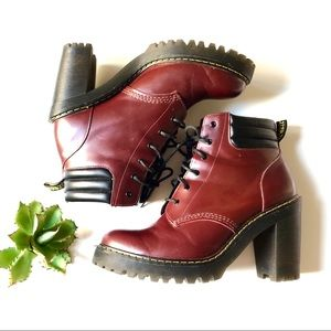 Dr. Martens Persephone Red Leather Heel Boots 11